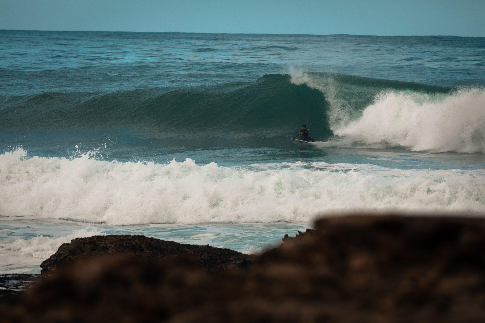 surfen in Arrifana, der Känguru ist on