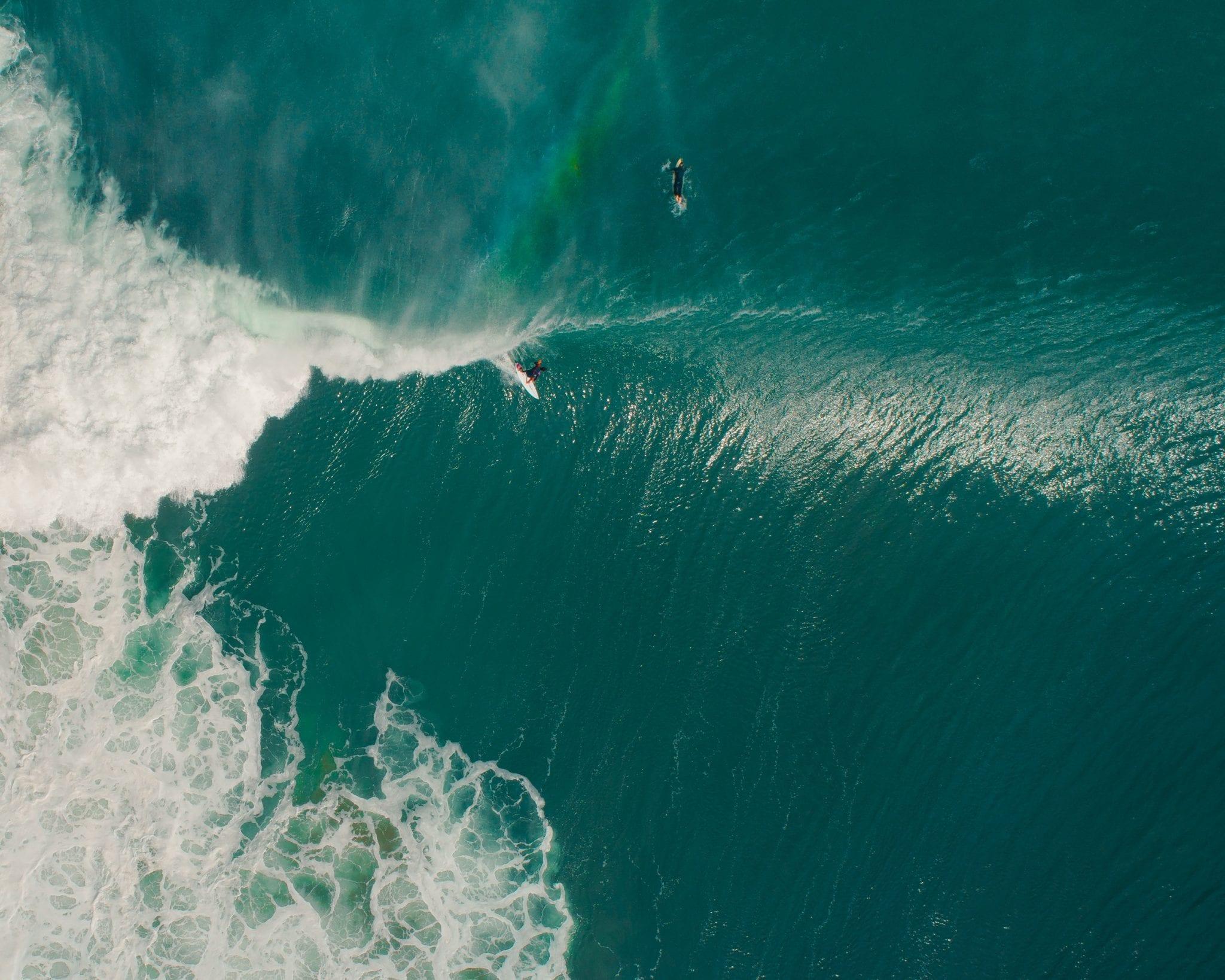 Dronen Foto Surfer in Frankreich